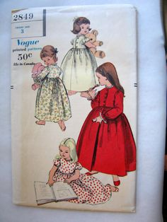 Vintage Vogue Childs Size 3 Nightgown and Robe Easy by charmings, $5.00