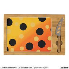 Customizable Dots On Blended OrangeToYellow Rectangular Cheeseboard