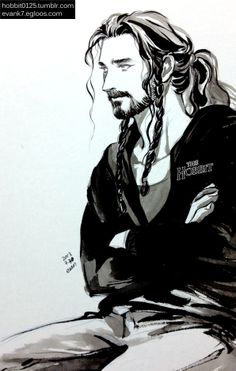 The Hobbit: Modern Thorin <- I cannot get enough of modern Thorin with his hair up :)