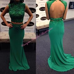 2016 Two Pieces Prom Gowns With Beaded Bodice And Open Back Lace Appliques Chiffon Sheath Prom Dresses With Sleeveless And Long Stores With Prom Dresses Super Cheap Prom Dresses From Nicedressonline, $145.97  Dhgate.Com