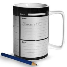 Writable Porcelain Mug Daily Schedule -- Read more  at the image link.