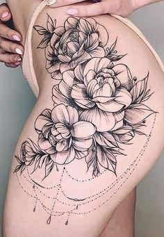 Tatoo Rose, Rose Tattoo Thigh, Hot Tattoos, Flower Tattoos, Girl Tattoos, Tattos, Hip Thigh Tattoos, Leg Tattoos Women, Werewolf Tattoo