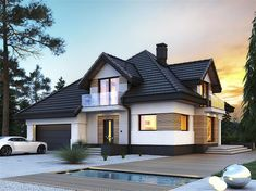House design with attic Opałek III N with an area with a spacious garage, . Modern Bungalow Exterior, Bungalow House Design, Dream House Exterior, House Outside Design, Modern Villa Design, Sims House, Home Design Plans, House Goals, Future House