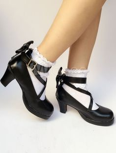 4585c506d2f Black Lolita Shoes Round Toe Chunky Heel Cross Front Ankle Strap Bow Lolita  Pumps  Toe