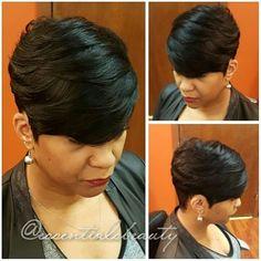 best ideas about Quick weave Short Quick Weave Hairstyles, 27 Piece Hairstyles, Pixie Hairstyles, Pretty Hairstyles, Short Hair Cuts, Short Pixie, Black Hairstyles, Braided Hairstyles, Hairstyles 2018