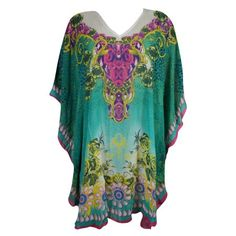 Summer Georgette Tunic Kaftan Dress Printed Holiday One size 14 16 18 20 22 24 D