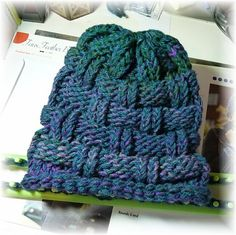 Knitting Wheel Fashions | Loom Knit Hat. Textured beanie.