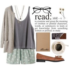 """Bookworm"" by tania-maria on Polyvore Chocolate, books, and the color grey. What more could I want?"