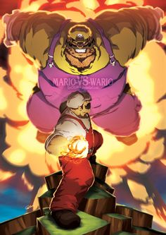 Mario VS Wario.  by Jeffrey Chamba Cruz