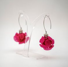 """Fuchsia Earrings, Long Pink Fabric Statement Earrings, Avant-Garde Textile Jewelry, Gorgeous fashion gift for your friend, mom or yourself! ✽✽✽""""Fuchsia organza earrings""""✽✽✽ These long dangle fabric earrings are inspired by a field of plowers in the spring. They have a gorgeous fuchsia pink color"""