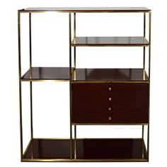 Used as bar cabinet for study  Modernist Etagere in Walnut Wood and Brass by Paul McCobb