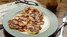 Bacon Pancakes with Maple-Peanut Butter Sauce Allrecipes.com. This looks very good. Has all the good stuff, pancake, bacon AND Peanutbutter! Yum!!