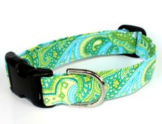 Dog Collar  Mojito Mint Paisley by CreatureCollars on Etsy, $17.00