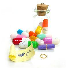 Tiny plastic pill contains message letter paper glass vials bottle 30PCS 6-10-32