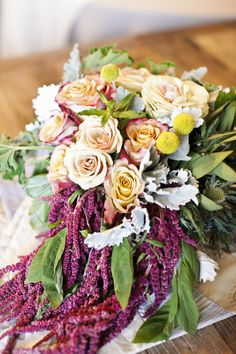 Dripping Amaranthus & Roses - Such a Romantic Bouquet! See the wedding on http://www.StyleMePretty.com/2014/04/03/romantic-nuptials-of-a-wedding-stationery-darling/ Photography: GiaCanali.com