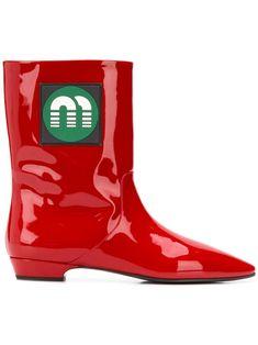 Miu Miu mid-calf Logo Boots - Farfetch