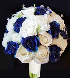 Silk Ivory White and Blue Roses and Fillers Bouquet. Lilies of the Valley and Stehanotis.