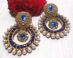 Blue stone pearl polki earrings