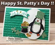 Snow Place penguin from Stampin' UP! - Happy St. Patty's day card from pattystamps.com