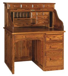 Amish Classic Single Pedestal Rolltop Desk Holmes Office II Collection Our Classic Single Pedestal Rolltop Desk has the quality of a double pedestal roll top desk offered in a compact size. Woodworking Desk Plans, Woodworking Apron, Woodworking Logo, Woodworking Joints, Woodworking Workshop, Woodworking Projects, Sketchup Woodworking, Workbench Plans, Youtube Woodworking