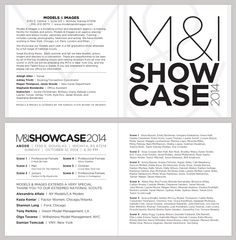 SHOWCASE 2014 PROGRAM       Designer: Chris M. Moore       Client: Models & Images