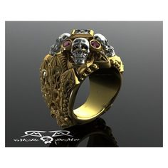 Gothic skull and reliquary memento mori mens ring in solid 14kt gold... ❤ liked on Polyvore featuring men's fashion, men's jewelry, men's rings, mens diamond skull ring, mens yellow gold diamond rings, mens gold diamond rings, mens engraved rings and mens watches jewelry