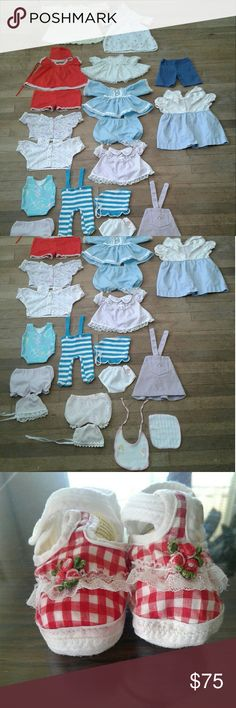 24 Pc. Vintage Cabbage Patch Doll Clothes This is a bundled set of 16 outfits, underwear, bib and towel and corduroy overalls, 24 pieces in all. I also have a pair of white plastic shoes and a pair of slippers. Everything is in good condition. Cabbage Patch  Other