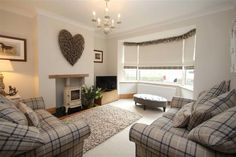 Cosy contemporary country living room with tartan check chairs. Why not head… Cosy contemporary country living room with tartan check chairs. Why not head on [. New Living Room, My New Room, Home And Living, Country Living Rooms, Living Area, 1930s House Interior Living Rooms, Cosy Living Room Decor, Cream Grey Living Room, Small Living