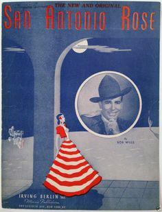 """1940 """"SAN ANTONIO ROSE"""" BOB WILLS COWBOY SHEET MUSIC - WESTERN SWING"""