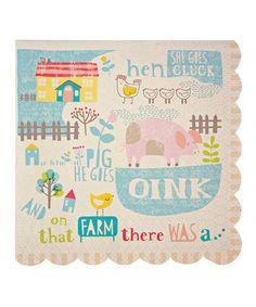 Look at this #zulilyfind! Happy Little Farm Small Napkin - Set of 40 #zulilyfinds