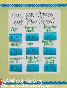 """How to Make a Reusable, Interactive, """"Math About Me"""" Anchor Chart - School and the City - How to Make a Reusable, Interactive, """"Math About Me"""" Anchor Chart… Perfect for Meet the Teacher or Open House during your back-to-school season! Back To School Night, 1st Day Of School, Beginning Of The School Year, Middle School, High School, Back To School Ideas For Teachers, Back To School Teacher, 3rd Grade Classroom, 4th Grade Math"""