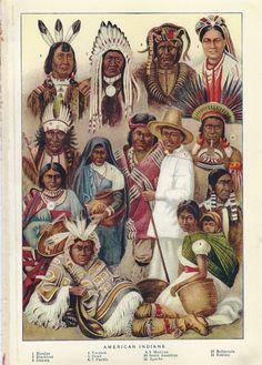 Antique Native American Indians Illustration Color Plate 1901. via Etsy.