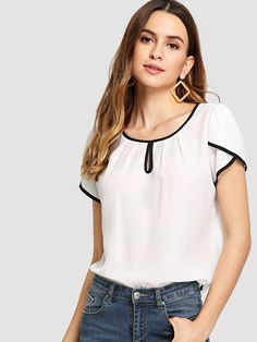 White Keyhole Neck Tulip Sleeve Contrast Binding Top Office Ladies Workwear Plain Summer Women Blouse Shirt WHITE S Petal Sleeve, Tulip Sleeve, Look Fashion, Fashion News, Fashion Outfits, Stylish Outfits, Fashion Women, Creation Couture, Yellow Fashion