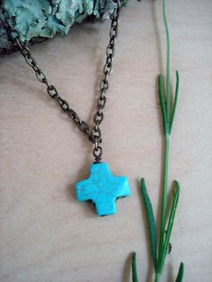 necklace, turquoise necklace, turquoise cross, boho necklace, simple necklace, everyday necklace, southwest necklace, cross necklace by kathywelshart on Etsy