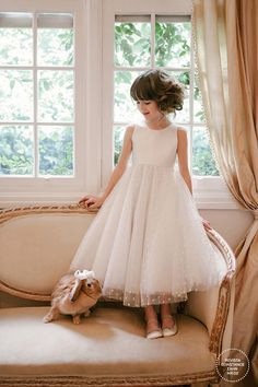White Ivory Lace Tulle Flower Girl Dresses for Wedding First Communion Dress Tulle Flower Girl, Tulle Flowers, Flower Girl Dresses, The Dress, Baby Dress, Little Girl Dresses, Girls Dresses, Bridal Dresses, Bridesmaid Dresses