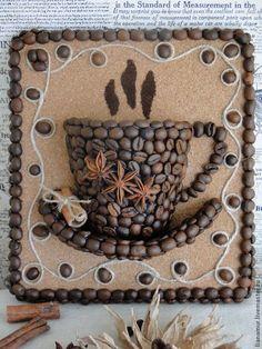 """Натюрморт ручной работы. Ярмарка Мастеров - ручная работа. Купить Панно """"Чашка кофе"""". Handmade. Кофе, панно для кухни, подарок                                                                                                                                                                                 Más"""