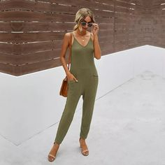 Ovesized 2021 New Casual Summer Solid Color V Neck All Match Pocket Sling Jumpsuit Women Sleeveless For Fashionable Jumpsuit Outfit, Pant Jumpsuit, Cotton Style, Casual Summer, Jumpsuits For Women, One Piece, V Neck, Pocket, Model