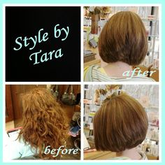 This shorter look with the pop of highlights is the perfect change for this mom on the go. Great for spring!