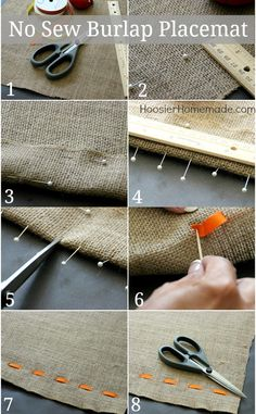 No Sew Burlap Placemat | Instructions on HoosierHomemade.com