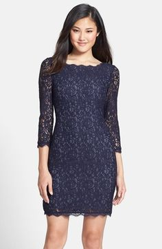 Adrianna Papell Long Sleeve Lace Sheath Dress (Regular & Petite) available at #Nordstrom - For Amanda?