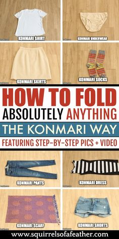 How to Fold Absolutely ANYTHING with the KonMari Method! How to Fold Absolutely ANYTHING with the KonMari Method!,Cleaning Wow, such a detailed guide on how to fold with the KonMari method! The organization tips. Declutter Your Home, Organizing Your Home, How To Organize Your Closet, Declutter Bedroom, Konmari Methode, Home Organization Hacks, Dresser Drawer Organization, Clothing Organization, Organizing Clothes Drawers