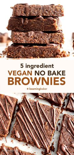 No Bake Vegan Brownies: this 5 ingredient no bake brownies recipe yields deliciously soft 'n dense no bake vegan brownies that'll satisfy your chocolate cravings! #NoBake #Brownies #Vegan   Recipe at BeamingBaker.com Healthy Chocolate Desserts, Raw Desserts, Homemade Chocolate, Healthy Dessert Recipes, Veggie Recipes, No Bake Brownies, No Bake Bars, Raw Vegan Brownies, No Sugar Added Recipe