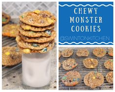 Chewy Monster Cookies made with oatmeal, peanut butter, m&ms and chocolate chips!