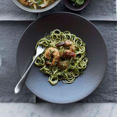 Zucchini Noodles and Shrimp with Almond-Herb Pesto | Williams-Sonoma