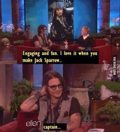 Damn it Ellen! You know there should be a captain in there somewhere! Johnny Depp - Captain Jack Sparrow Ellen DeGeneres The Ellen Show Dump A Day, The Pirates, Pirates Of The Caribbean, Captain Jack Sparrow, Jack Sparrow Quotes, Jack Sparrow Funny, Pirate Life, Carl Grimes, Funny Pictures
