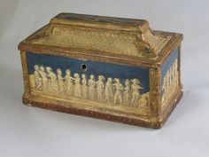 Box [Italy] (made)  Date: 15th century (made)  Artist/Maker: Unknown (production)  Materials and Techniques: Wood, with applied gesso duro ornament, painted and gilt