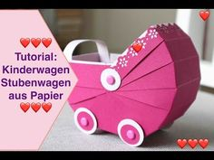 Tutorial: Baby stroller Paper bassinet Crafting instructions Stampin Up! ♥ ️ Today a tutorial: Pram – Bassinet made of paper Crafting instructions If you have any que Papier Kind, Diy Paper, Paper Crafts, Exploding Gift Box, Stampin Up, Accessoires Barbie, Slider Cards, Origami, Baby Shawer