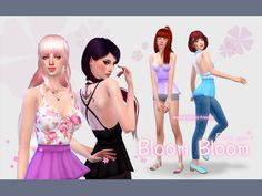 Bloom bloom tops by manueaPinny at TSR • Sims 4 Updates