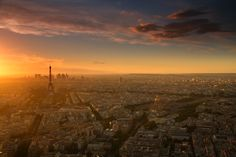 PARIS - Golden hour at sunset in Paris. Photo taken from the highest skyscraper Tour Montparnasse