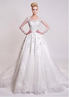 Junoesque Tulle V-neck Neckline Ball Gown Wedding Dresses With Lace Appliques